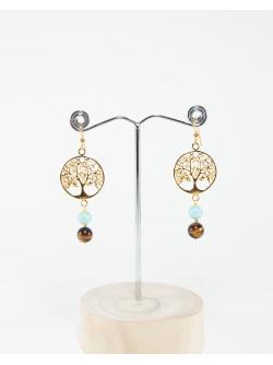 Boucles d'oreilles arbre de vie Oeil de tigre, Larimar, Collection Kimua. Sanuk Création