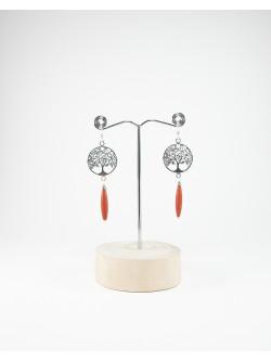 Boucles d'oreilles arbre de vie Jaspe Rouge, Sanuk Création