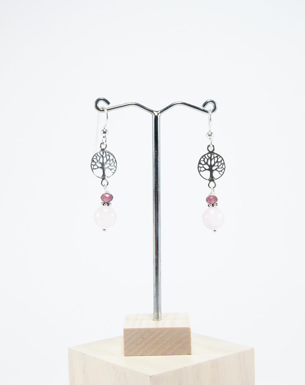 Boucles d'oreilles arbre de vie en Quartz rose. Collection Kimua. Sanuk Création