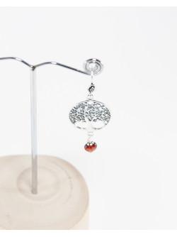 Boucles d'oreilles Arbre de vie Grenat, Collection Kimua. Sanuk Création