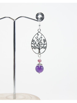 Boucles d'oreilles arbre de vie Améthyste, Collection Kimua. Créateurs Français. Sanuk creation