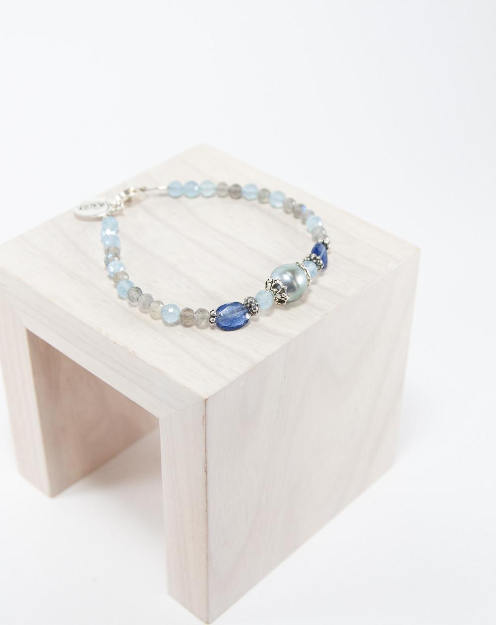 Bracelet Aigue-Marine Labradorite Perle de Tahiti. Créateurs Français. Sanuk Création