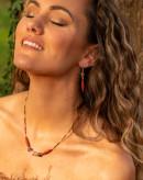 Boucles d'oreilles Jaspe rouge Unakite, Sanuk Création