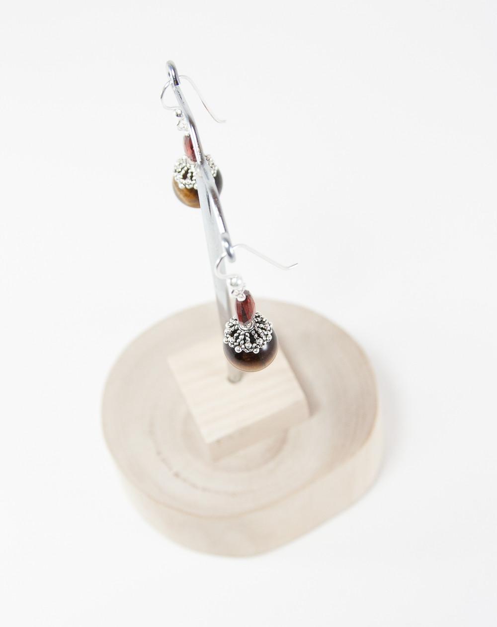 Boucles d'oreilles Oeil de tigre Grenat, Sanuk Création