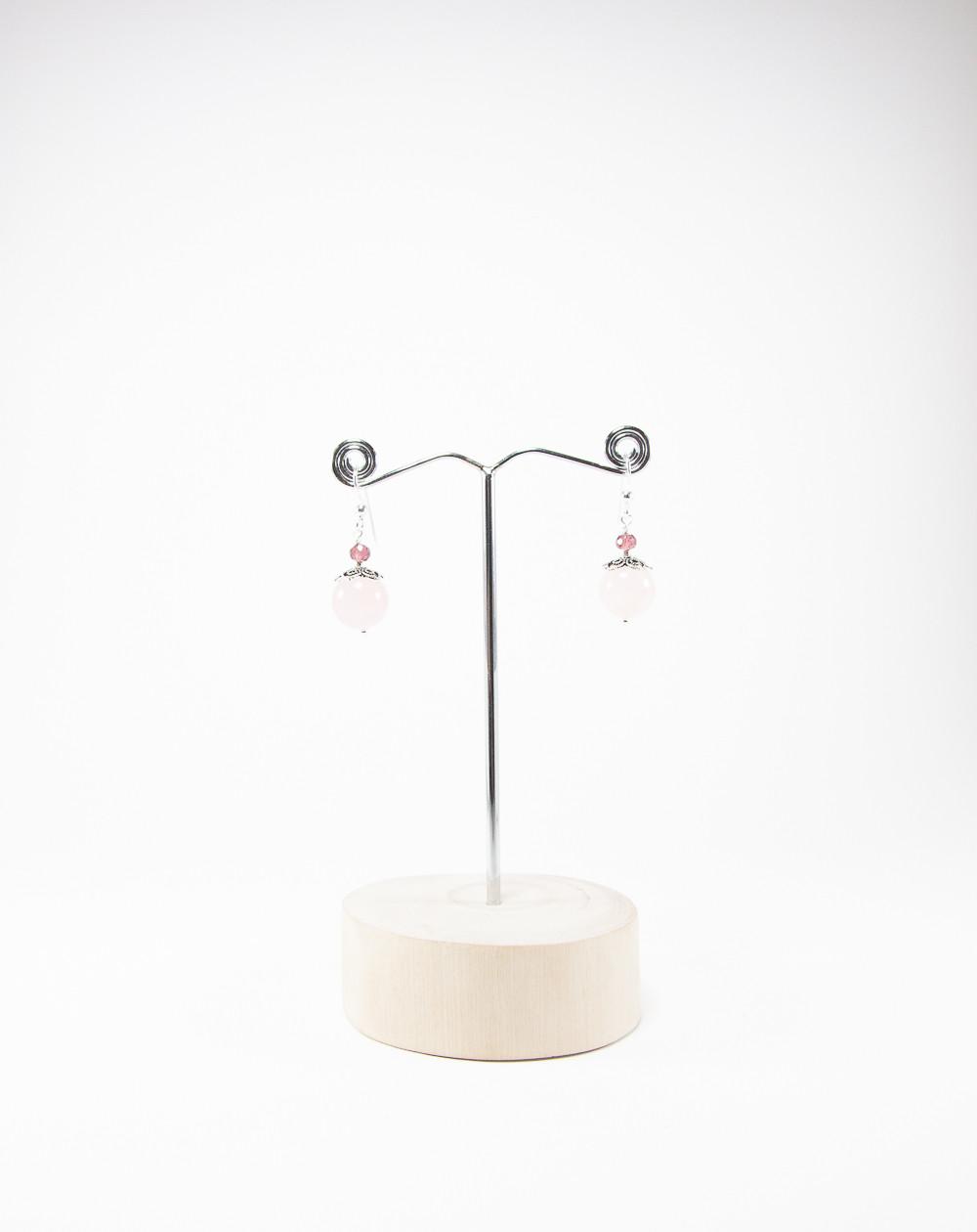 Boucles d'oreilles Quartz Rose Grenat, Sanuk Création