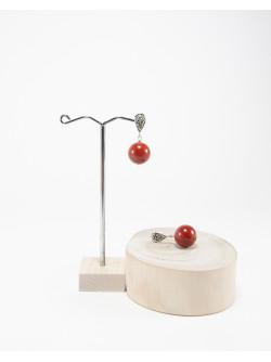 Boucles d'oreilles Marcassites Jaspe rouge, Créateurs Français. Sanuk Création