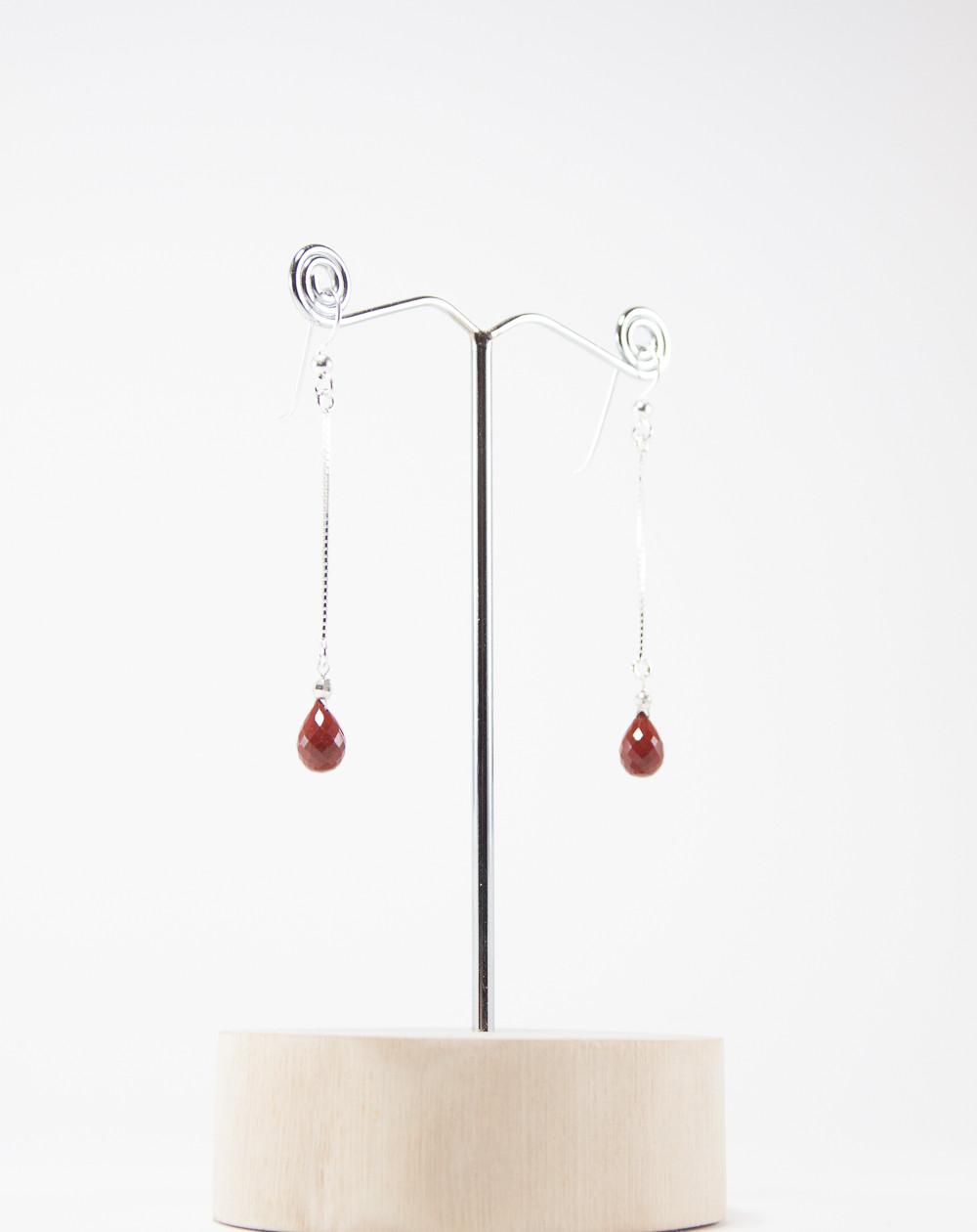 Boucles d'oreilles longue en Jaspe rouge, Sanuk Création