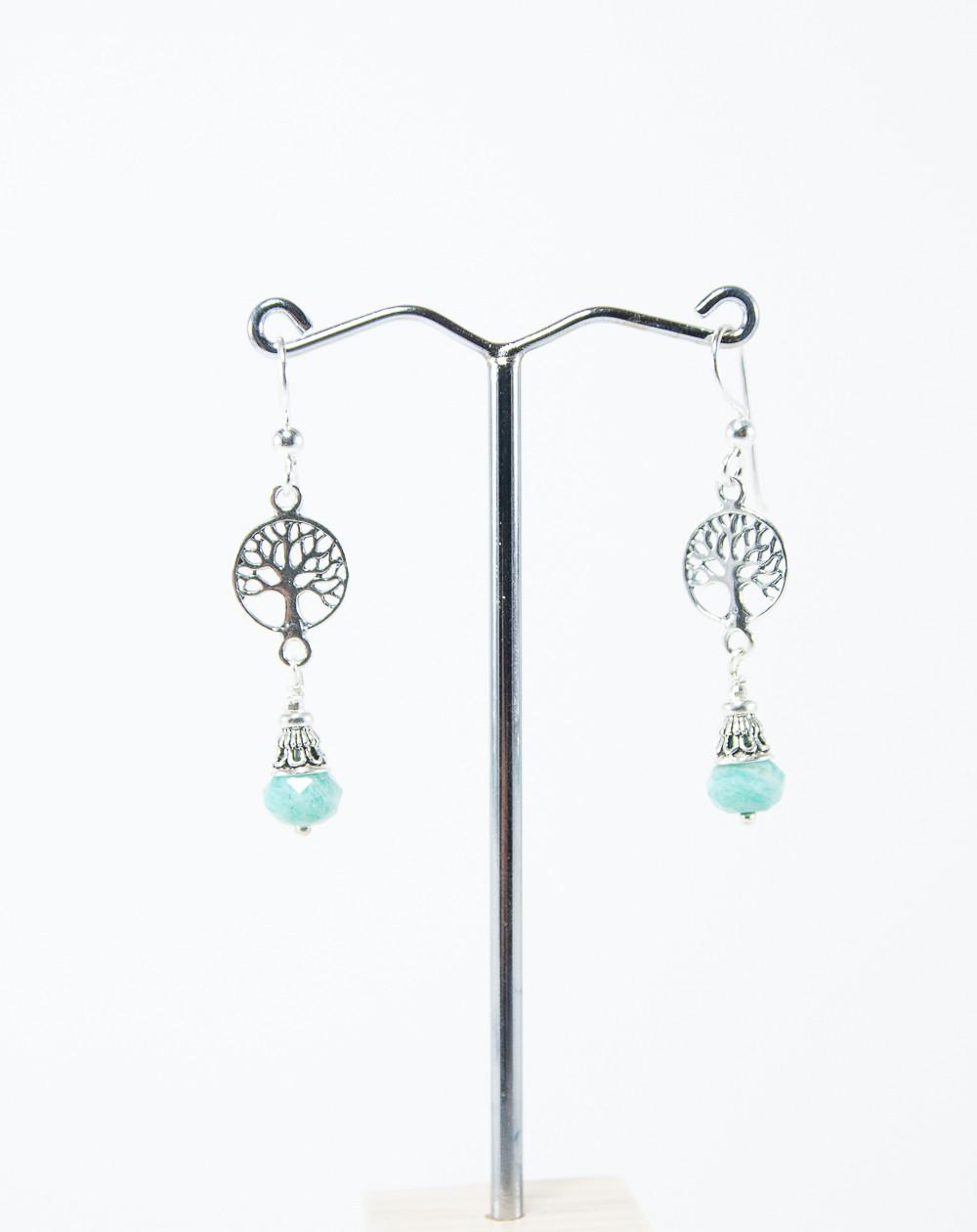 Boucles d'oreilles arbre de vie Amazonite, collection Kimua . Sanuk Création