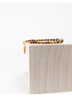 Bracelet en Oeil de tigre et  Larimar, Créateurs Français , Sanuk Création
