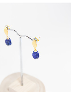 Boucles d'oreilles Scarabée en Lapis Lazuli, collection Khépri, Sanuk Création