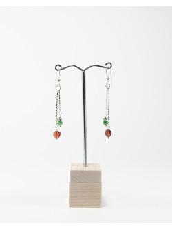 Boucles d'oreilles double grenat rubis zoïsite, Sanuk Création