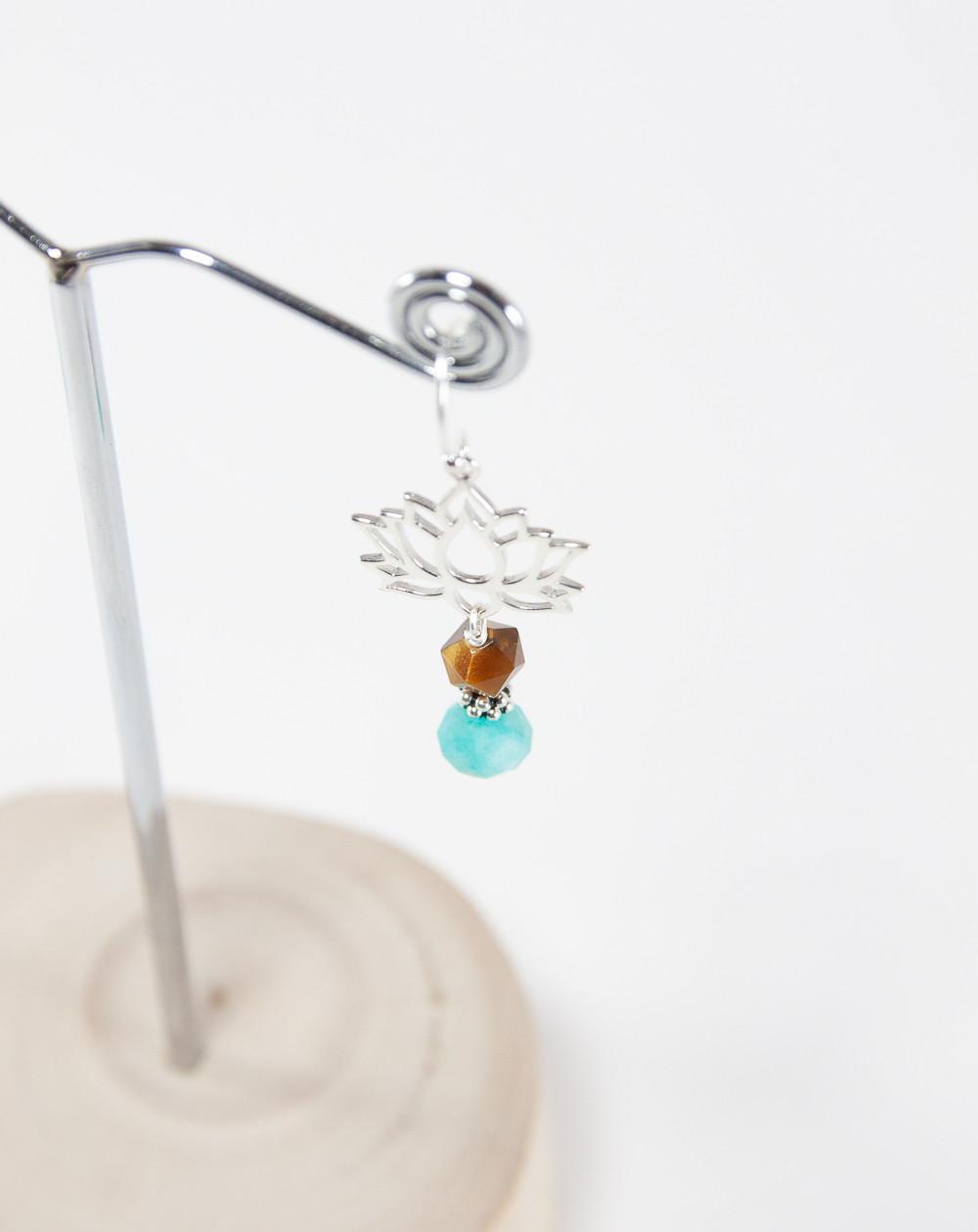 Boucles d'oreilles Fleur de Lotus Amazonite, Collection Dokbua, Sanuk Création