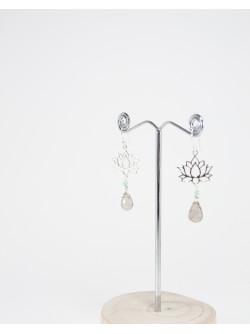Boucles d'oreilles Fleur de Lotus Quartz Fumé, Collection Dokbua, Sanuk Création