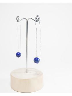 Boucles d'oreille double chaine en Lapis Lazuli. Créateurs Français, SAnuk Création