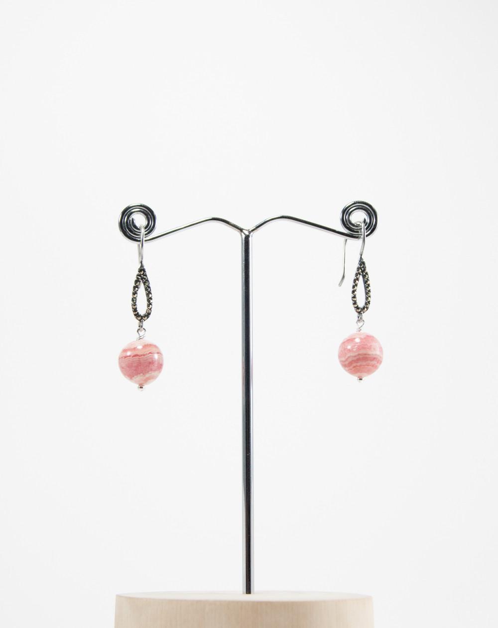 Boucles d'oreilles marcassites , Rhodochrosite. Sanuk Création