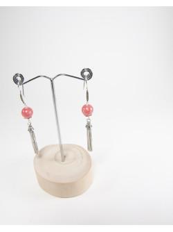 Boucles d'oreilles Rhodochrosite, pompon, Créateurs Français. Sanuk Création